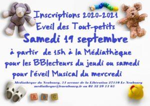 inscription 2020-2021 éveil des Tout-petits